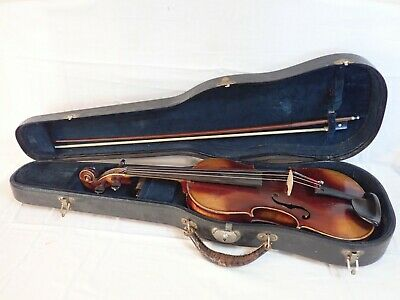 ANTIQUE VIOLIN & BOW w/ CASE SOMMERFELD, DUSSELDORF COPY OF GUARNERIUS