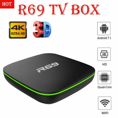 Hot R69 TV Box Android 7.1 Quad Core WIFI 3D 4K H.265 USB HDMI 1+8G Media Player