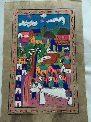 Vintage Mexican Folk Art, Bark Paper, papel amate hand painted