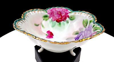 "Nippon Japan Pink And Purple Floral Enamel Accent 6 1/4"" Tri Footed Bowl"