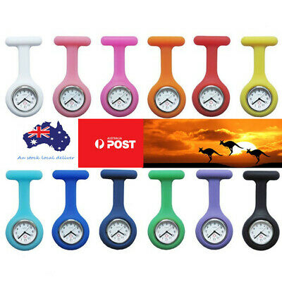 Silicone Nurse Nursing Pendant Brooch Tunic Fob Clip Pocket Quartz Battery Watch
