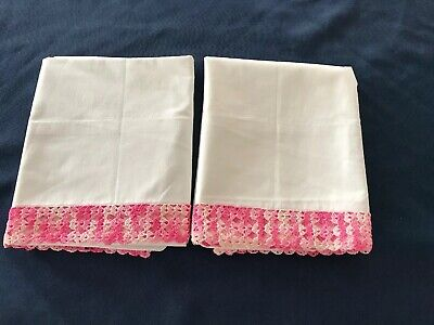 New Never Used 1 Pr Vintage COTTON PILLOWCASES Crochet PINK EDGING ByPepperell