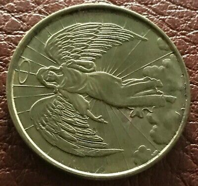 Collectible Angel Coin, Religious, Good Luck Coin, Charm, Golden, Double-Sided