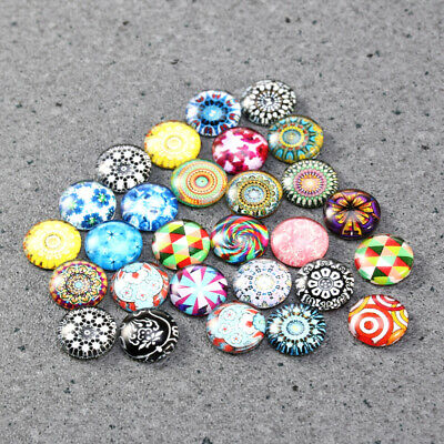 12mm 200Pcs Mixed Round Mosaic Tiles Crafts Glass Supplies fr Jewelry Making NEW