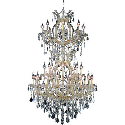 "34 Light 56"" Large Entryway Foyer Hallway Gold Maria Theresa Crystal Chandelier"