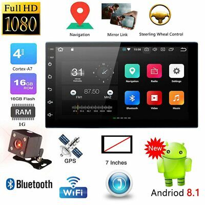 """7"""" 2 DIN Android 8.1 16G Quad Core WiFi GPS Sat Nav Car Stereo MP5 Player+Camera"""