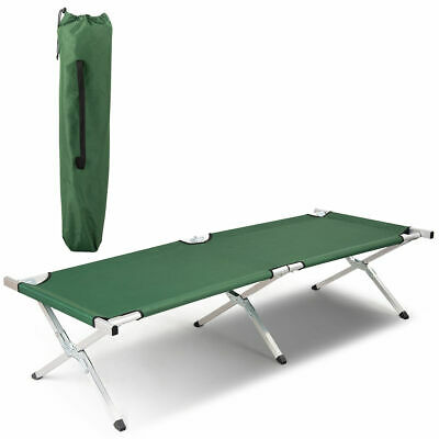 Foldable Camping Bed Portable Military Cot Hiking Travel w/ Carry Bag Green
