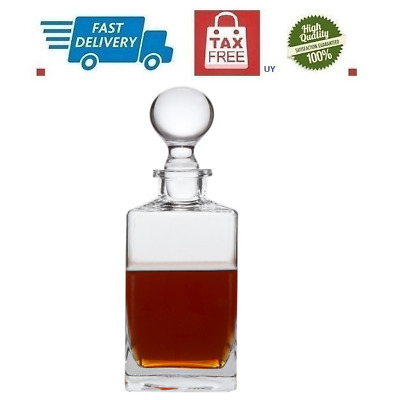 Lead Free Whiskey Decanter Carafe Scotch Wine Liquor With Bottle Stopper 32 Oz