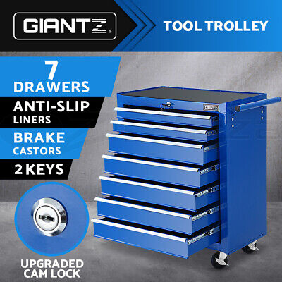 Giantz Tool Box Chest Cabinet Trolley 7 Drawers Cart Garage Toolbox Set Blue