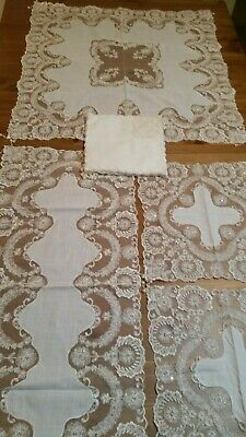 Limited Stock-16PCE  Beaded/Sequin AntiqueWhite Table-Linen Set WAS:$178 Now $96