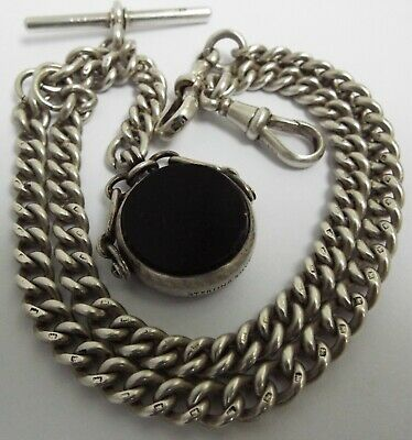 Stunning Clean Heavy Antique 1908 Sterling Silver Double Albert Chain & Spinner