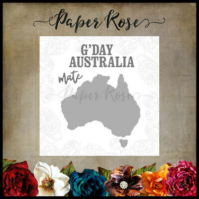Paper Rose Die Map of Australia  4pc Set