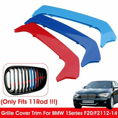 3pcs Tricolor Front Grille Strip Cover Trim For BMW 1 Series F20/F21 12-14 11Rod