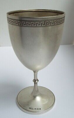 Superb Large Clean Decorative English Antique 1913 Sterling Silver Wine Goblet