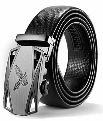 Men Leather Buckle Waistband Automatic Sliding Buckle 35mm Wide Business Luxury