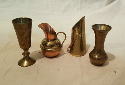 4 Vintage Miniature Assorted  Brass, Copper, Metal  Containers