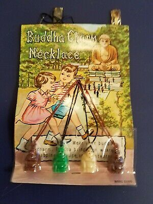 Vintage Gumball/Vending Machine Buddha Charm Necklace Display Card  Made In Hong