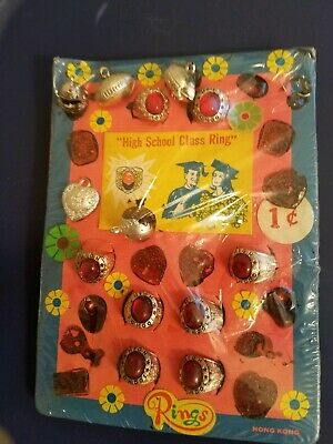 Vintage Gumball/Vending High School Rings Machine Display Card One Cent