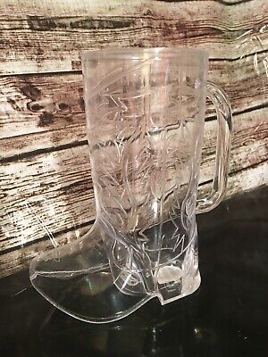 6- unique clear Western Cowboy/ Cowgirl Boot Mugs Party Supply