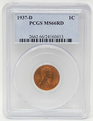1937-D 1c Lincoln Wheat Back Small Cent Penny PCGS MS66 RD Red Coin A8552