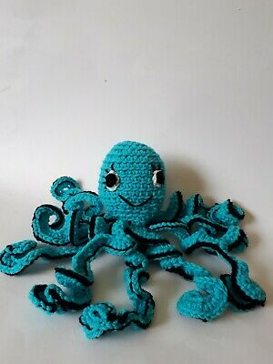 Homemade hand crocheted octopus for children  blue and black