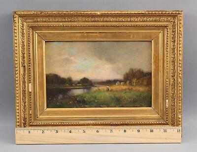 Small 19thC Antique Impressionist Country Farm Landscape, Harvesting Hay, NR