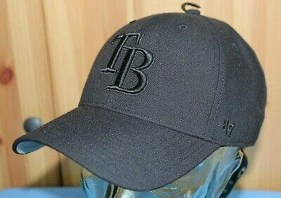 b3efad6d2a24f2 Tampa Bay Rays MLB Baseball Hat/Cap - All Black '47 Adjustable Velcro Back