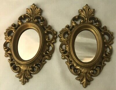 2 Vintage Oval Rococo Style Burwood Wall Mirrors Gold Plastic Frame Usa Vgc