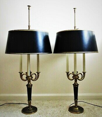 Superb Pair of Antique Bouillotte Lamps French Empire Style Bronze