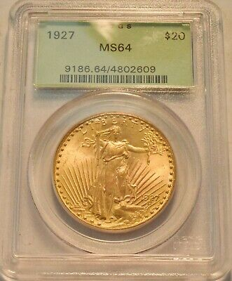 1927 $20 PCGS MS 64 Gold St. Gaudens Double Eagle, OGH PQ Twenty Dollar Saint