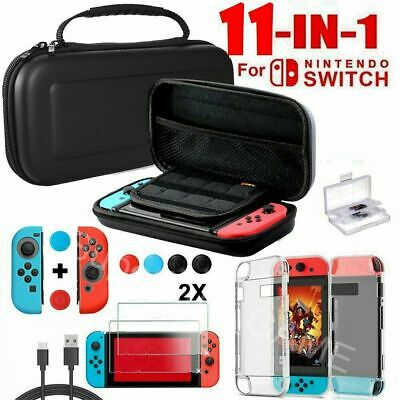 11in1 EVA Hard Carrying Case Bag Tempered Glass Screen Protector Nintendo Switch