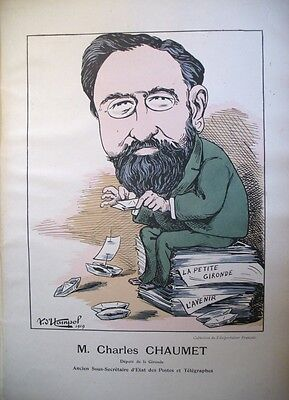 Charles Chaumet Deputy Gironde Lithograph Caricature by Andre of Hampol 1919