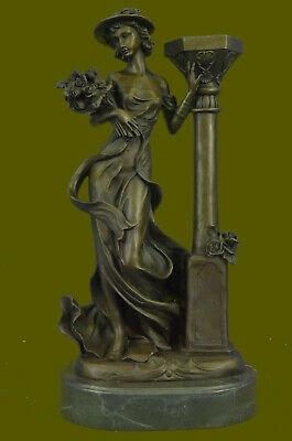 Genuine Bronze Metal Statue on Stone Classical Woman Flower Mother Day Sculpture