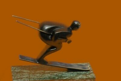Handmade Bronze Sculpture skier men skiiing snow ski sports Statue Figurine