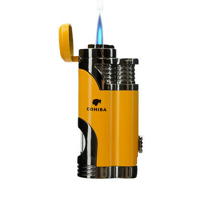 Cigar Torch Lighter with Punch Windproof Double Flame Cigarette Lighters no gas
