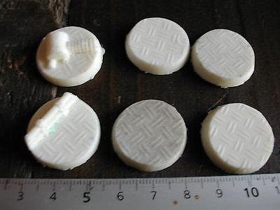 6x SOCLES/BASES ROND/ROUND 25MM RESINE TECHNICAL (NECROMUNDA/W40K... etc)  #211