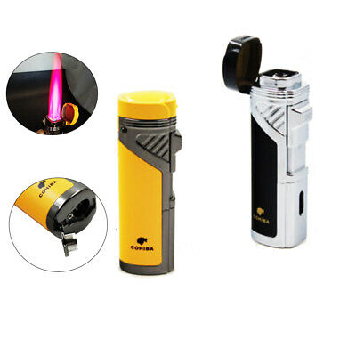 Windproof Cigar Lighter Butane Torch with Punch 4 Jet Flame No Gas Refillable