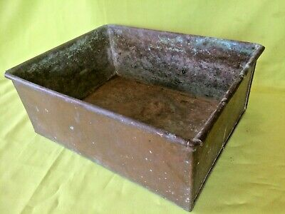 Old antique Victorian or Edwardian period oblong Copper cooking or planter tin