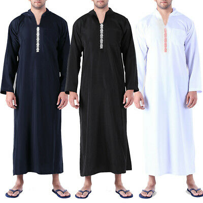 Men's Baggy Long Saudi Thobe Abaya Robe Daffah Dishdasha Islamic Arab Kaftan Top