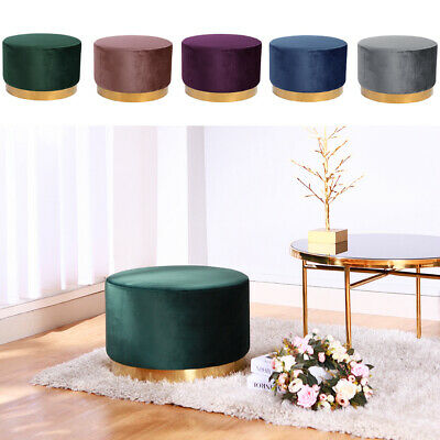 Round Small Dressing Table Stool Bedroom Footstool Velvet Makeup Chair Footrest