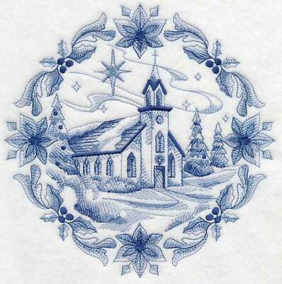 Delft Blue Christmas-  Embroidered  Quilt Blocks