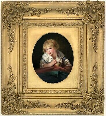 Child with an Apple Antique Oil Painting after Jean-Baptiste Greuze (1725-1805)