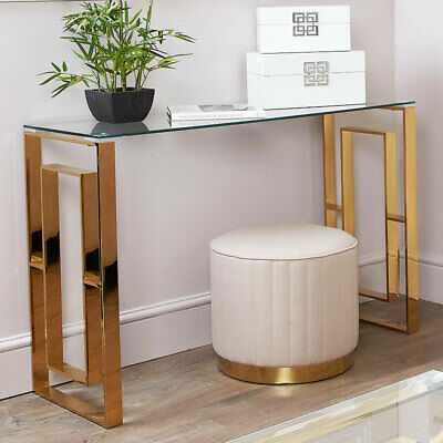 Plaza Gold Contemporary Clear Glass Console Hall Occasional Display Table Desk