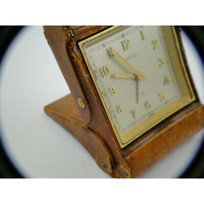 vintage Angelus 8 day swiss made travel clock in original case working fine
