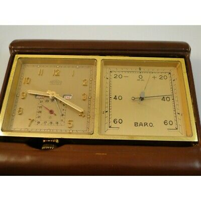 vintage Angelus 8 day swiss made travel clock in original case barometer date