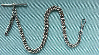 Lovely Antique fine STERLING Silver GRADUATED  Albert Watch Chain   12 inch Vgc