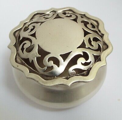 Lovely Rare English Antique 1909 Elkington Solid Sterling Silver Pot Pourri Box