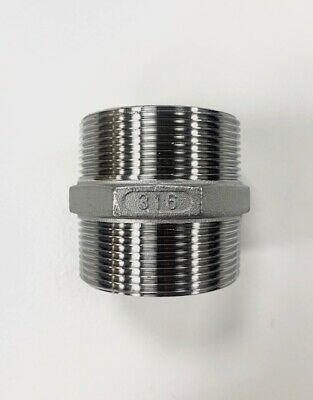 "Hex Nipple BSP Pipe Fittings Stainless Steel 316 A4 Grade 150lb  1/8"" To 4"""