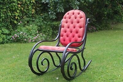 Thonet Style Jetzmann + Co Ebonised Bentwood Rocking Chair Chesterfield Silk