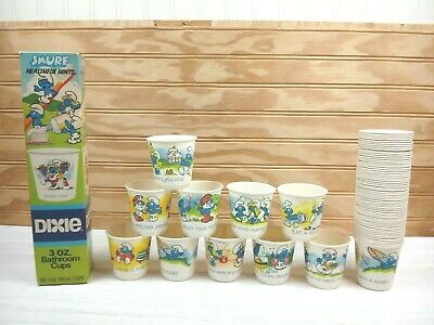69 Vintage Dixie Smurf Healthful Hints Bathroom Cups 3 Oz 80s Partial Box Set